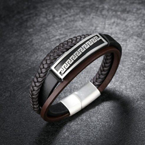 Bracelet pour homme en cuir noir et marron avec plaque en acier inoxydable