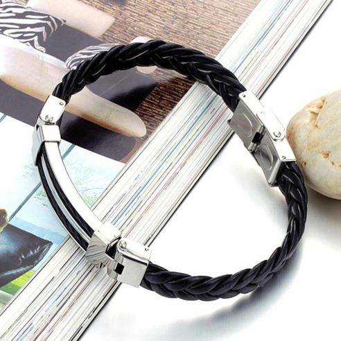 Bracelet pour homme en cuir synthétique noir tressé avec plaque en acier inoxydable