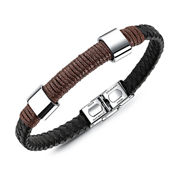 Bracelet pour homme en cuir synthétique noir, cordage marron et pièces en acier inoxydable