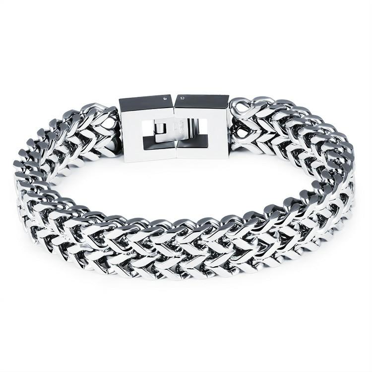 Bracelet en acier inoxydable de couleur argent et fermoir en deux parties carrées