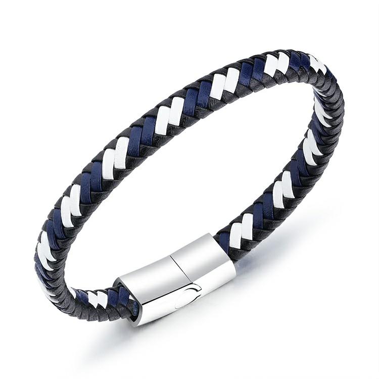 Bracelet en cuir synthétique bleu tressé et fermoir en acier inoxydable
