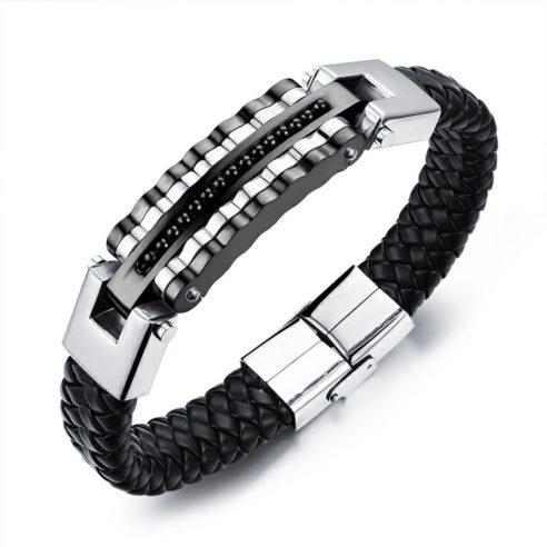 Bracelet en cuir synthétique noir tressé et plaque en acier inoxydable