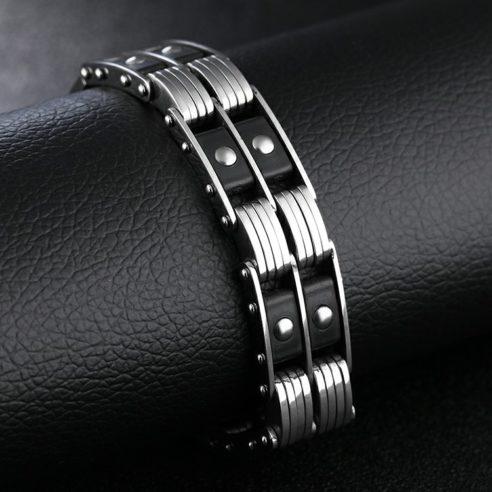 Bracelet en acier inoxydable argent et noir en forme de chaîne de moto