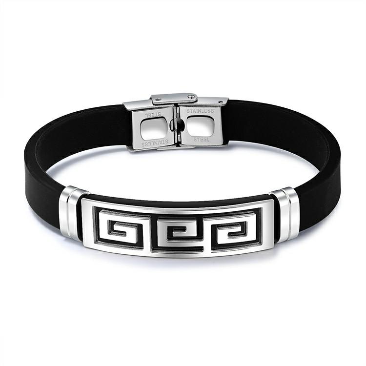 Bracelet pour homme en silicone noir avec plaque en acier inoxydable