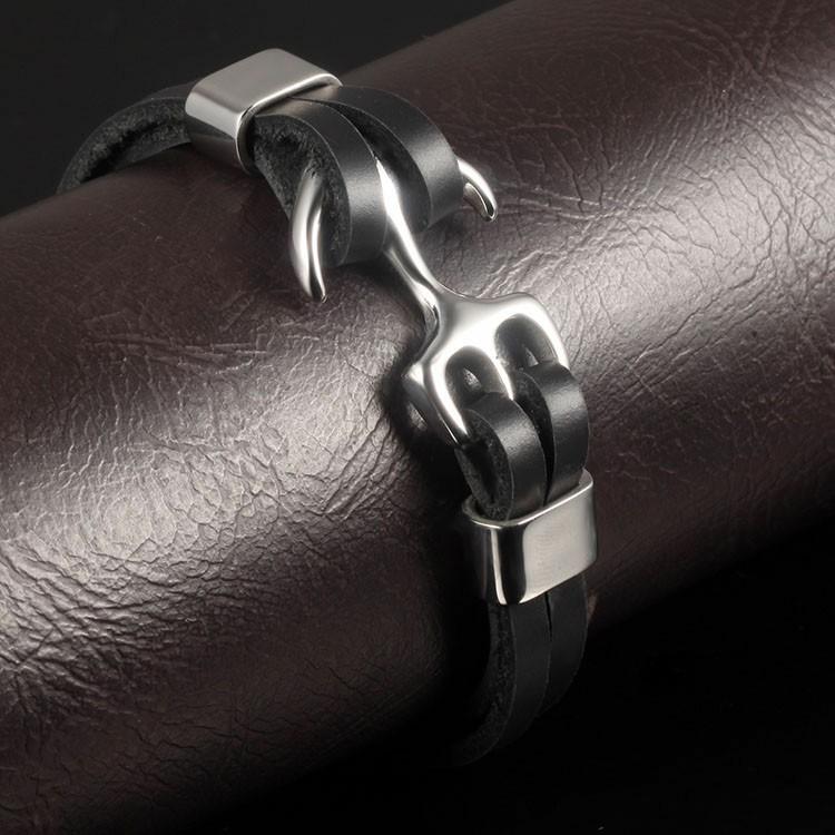 Bracelet en cuir noir avec ancre en acier inoxydable