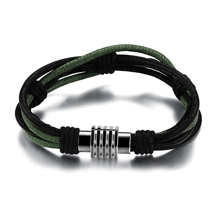 Bracelet en cuir et corde avec fermoir magnétique en acier inoxydable