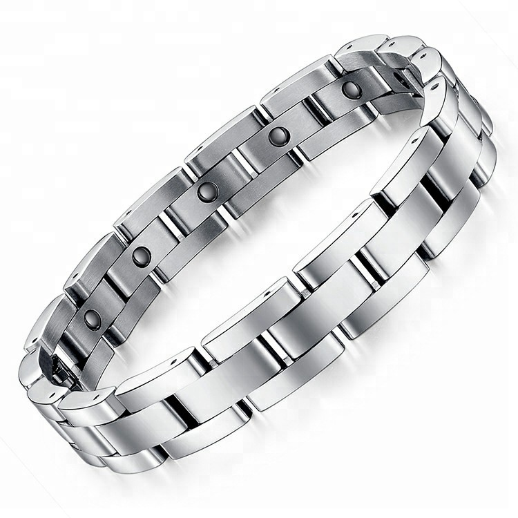 Bracelet en acier inoxydable argent avec pierres magnétiques