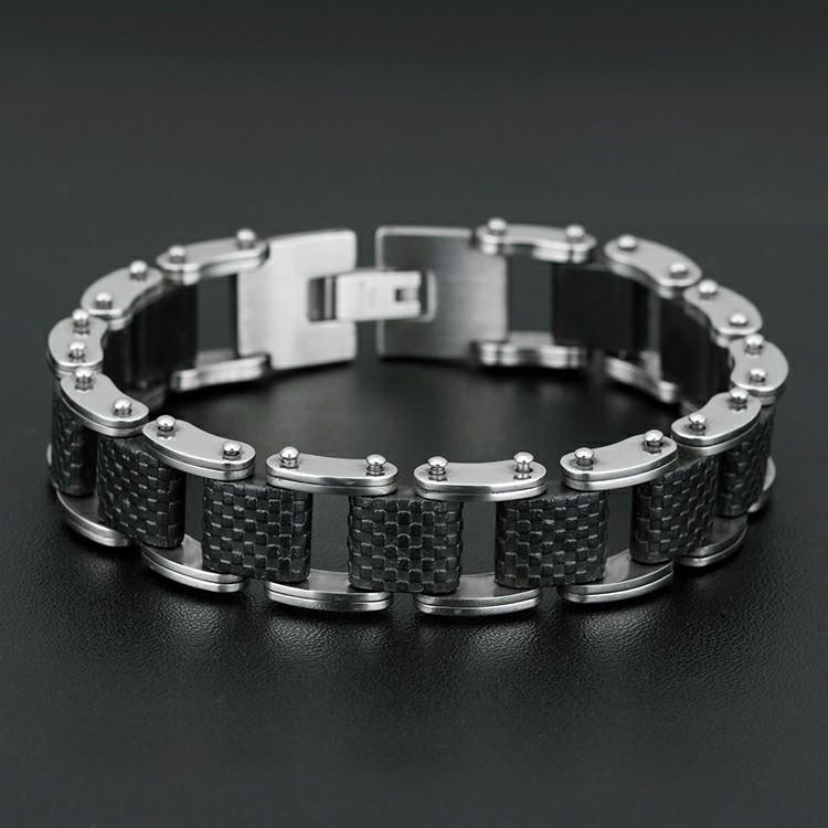 Bracelet en acier inoxydable avec silicone