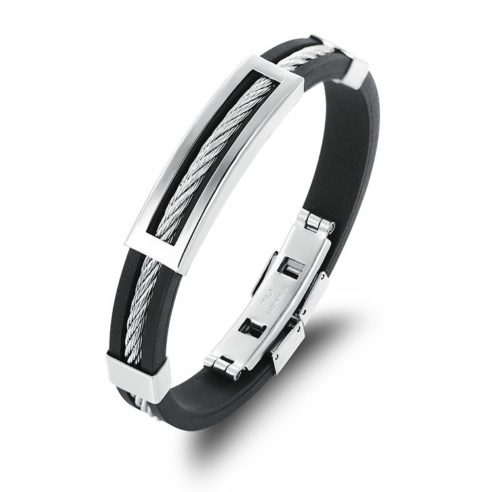 Bracelet en silicone noir et acier inoxydable