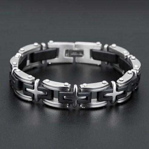 Bracelet en acier inoxydable avec croix couleur argent