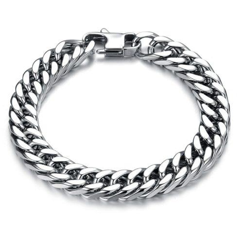 Bracelet en acier inoxydable avec gros maillons de couleur argent
