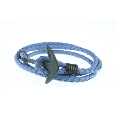 Bracelet multi-tours en nylon bleu et ancre en acier inoxydable noir
