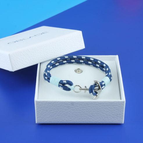 Bracelet en nylon bleu marine et bleu ciel avec ancre en acier inoxydable