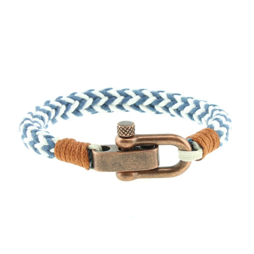 Bracelet en coton bleu et blanc et manille en acier inoxydable plaquage cuivre