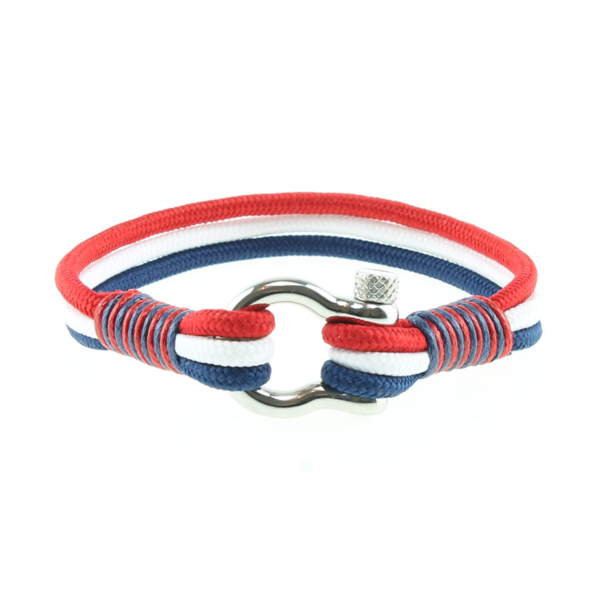 Bracelet en nylon bleu blanc rouge et manille en acier inoxydable
