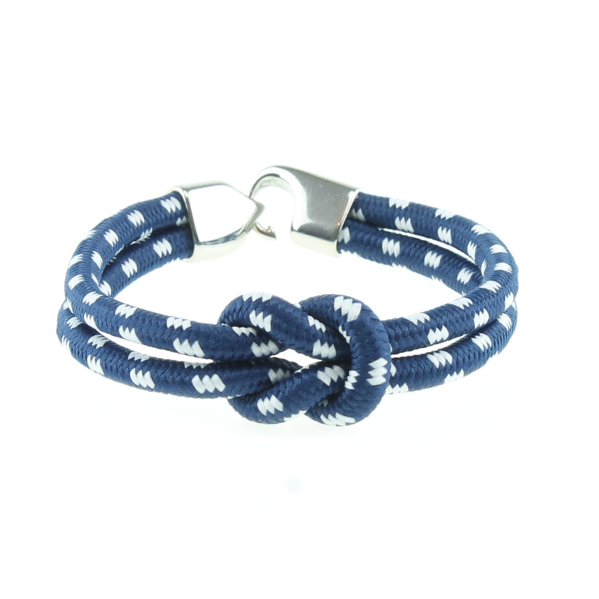 Bracelet en nylon bleu et blanc avec nœud de huit et fermoir en acier inoxydable