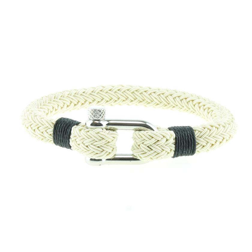 Bracelet en nylon beige avec manille en acier inoxydable