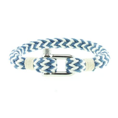 Bracelet en coton bleu et blanc avec manille en acier inoxydable
