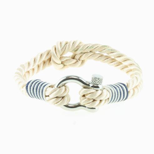 Bracelet en coton beige avec nœud de huit et manille en acier inoxydable