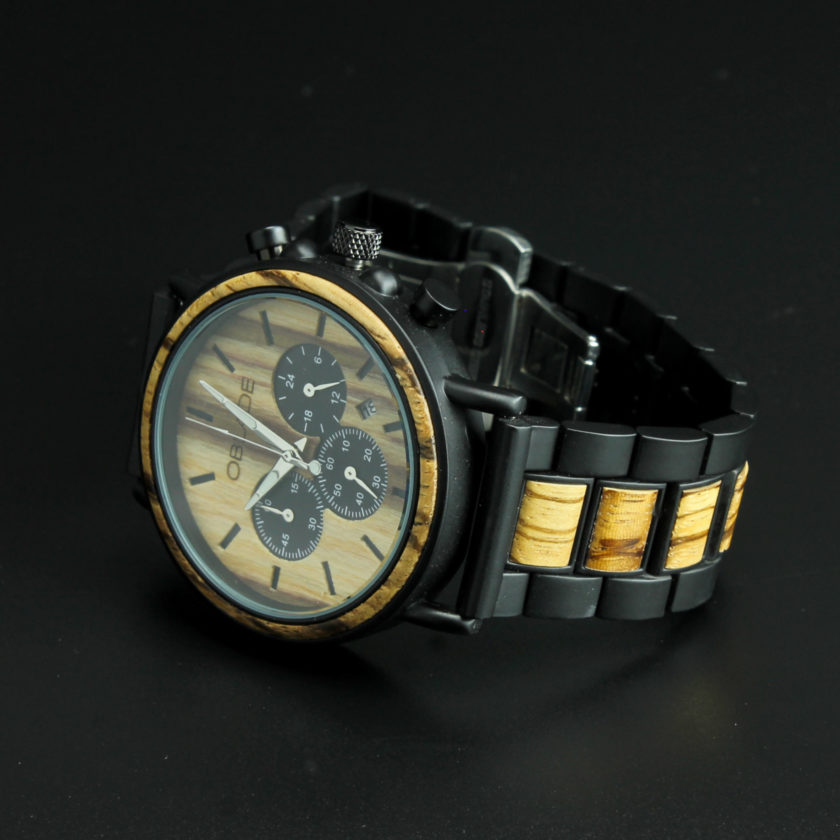 Montre en bois chronographe avec cadran en bois