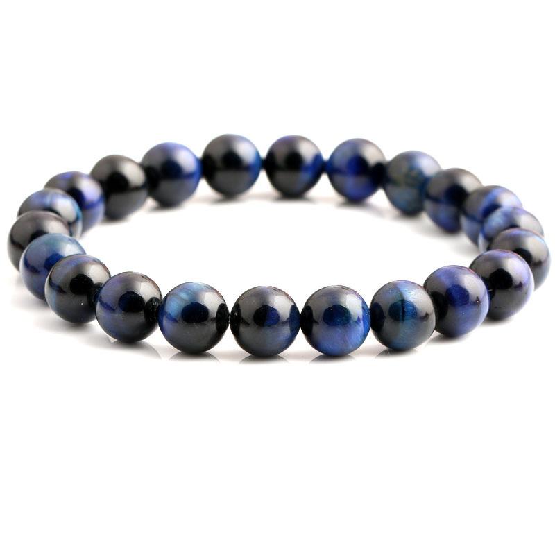 Bracelet pour homme en perles d'œil de tigre bleu.