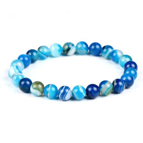 Bracelet pour homme en perles d'agate bleue.