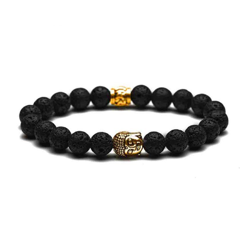 Bracelet bouddha couleur or et perles de pierre de lave