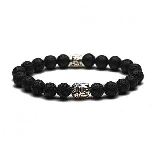 Bracelet bouddha couleur argent et perles de pierre de lave