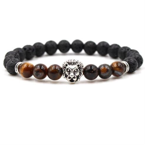 Bracelet pour homme composé d'une élégante tête de lion couleur argent, de perles de pierre de lave et de perles œil de tigre.