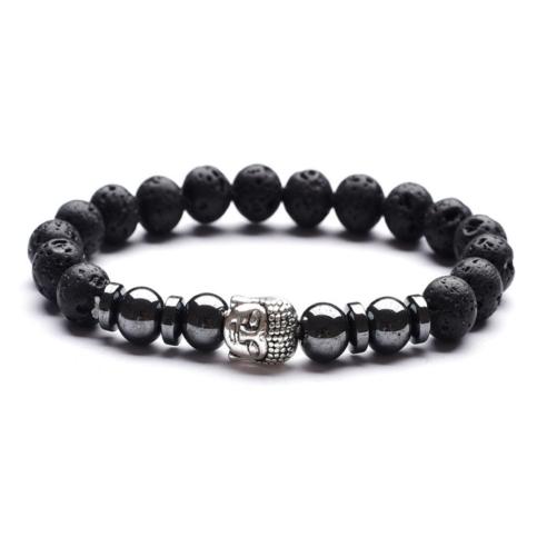 Bracelet bouddha couleur argent, perles de pierres de lave et d'hématite