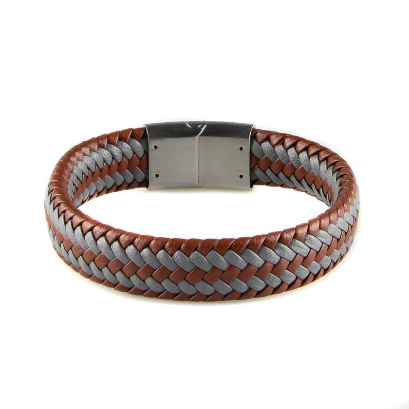 Bracelet pour homme en cuir marron et gris tressé.