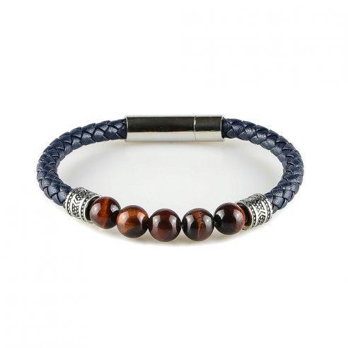 Bracelet pour homme en cuir bleu marine tressé et avec cinq perles œil de tigre.