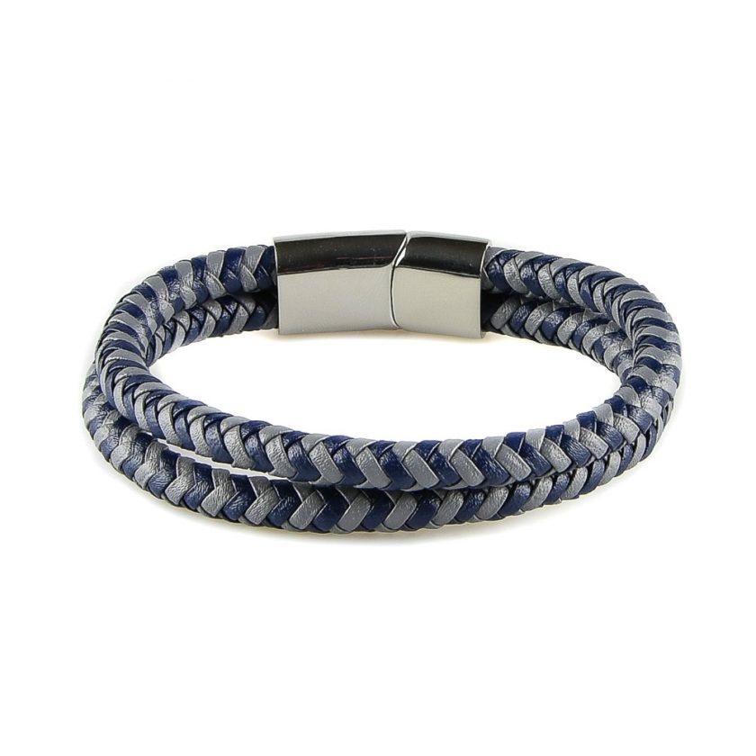 Bracelet pour homme composé de deux lanières de cuir bleu et gris tressé.