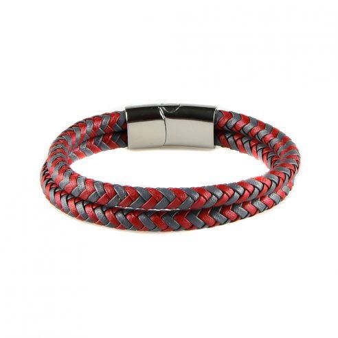 Bracelet pour homme composé de deux lanières de cuir rouge et grise tressé.