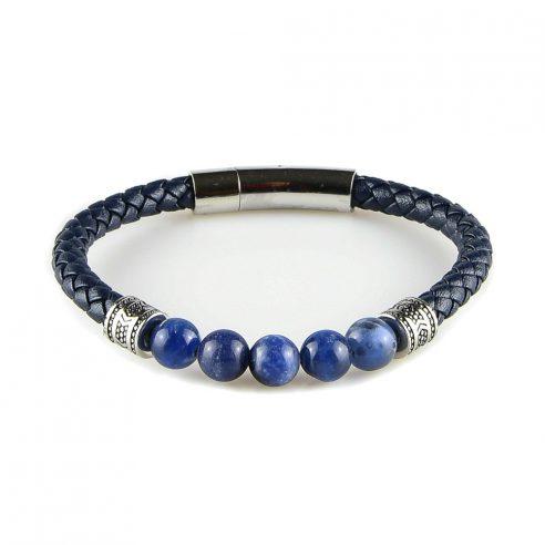 Bracelet pour homme en cuir bleu marine tressé et avec cinq perles bleues.