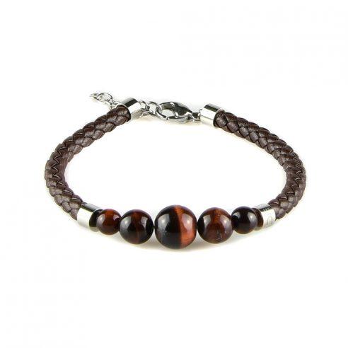 Bracelet pour homme en cuir marron tressé et avec cinq perles œil de tigre.