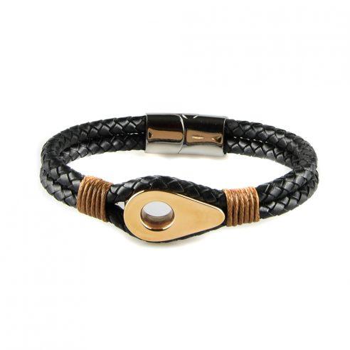 Bracelet pour homme en cuir noir tressé avec une poulie de couleur or rose et des cordages ocre de part et d'autre.