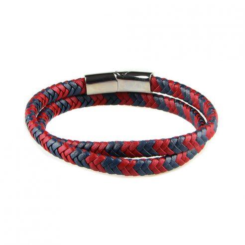 Bracelet multi-tours pour homme en cuir bleu marine et rouge tressé.