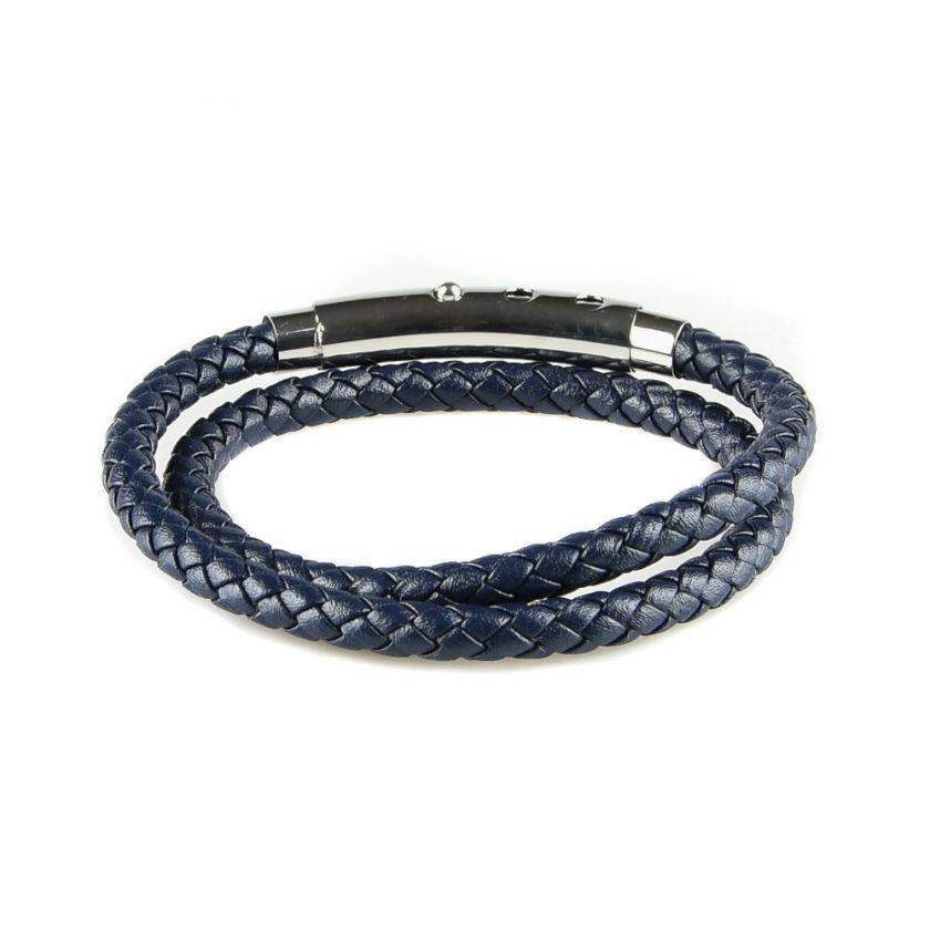 Bracelet pour homme en cuir bleu marine tressé.