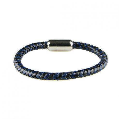 Bracelet pour homme en cuir tressé bleu et noir.