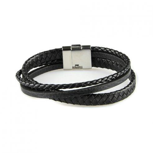 Bracelet en cuir pour homme avec deux lanières de cuir noir tressé et une lisse.