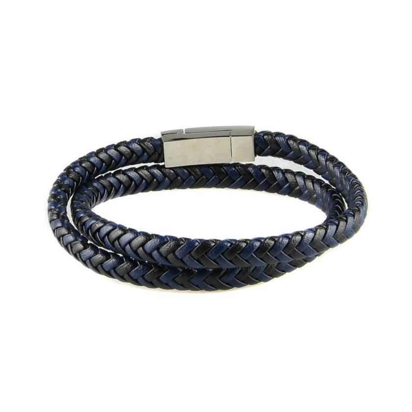 Bracelet multi-tours pour homme en cuir tressé noir et bleu.