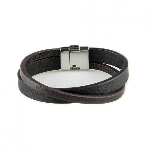 Bracelet en cuir pour homme composé d'une lanière en cuir lisse noir et d'une en cuir lisse marron.