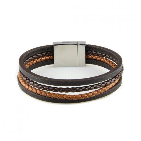 Bracelet en cuir pour homme avec deux lanières de cuir tressé marron foncé et clair, et deux lanières de cuir lisse noir.