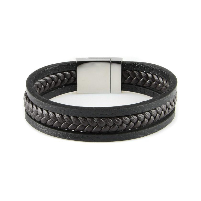 Bracelet en cuir pour homme avec deux lanières de cuir lisse noir et une lanière de cuir tressé marron foncé au centre.