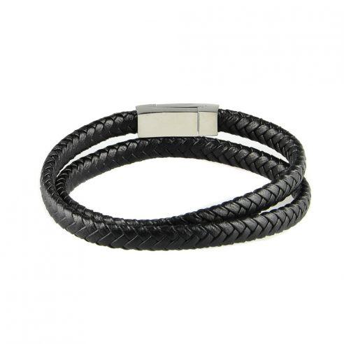 Bracelet multi-tours pour homme en cuir tressé noir.