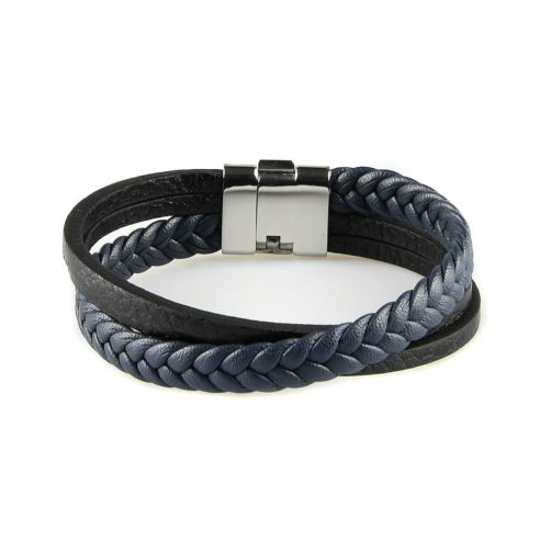 Bracelet en cuir pour homme avec une lanière de cuir tressé bleu foncé et deux lanières de cuir lisse noir.