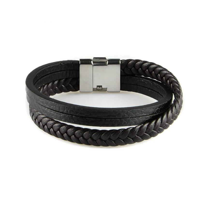 Bracelet en cuir pour homme avec une lanière de de cuir tressé marron foncé deux lanières de cuir lisse noir.