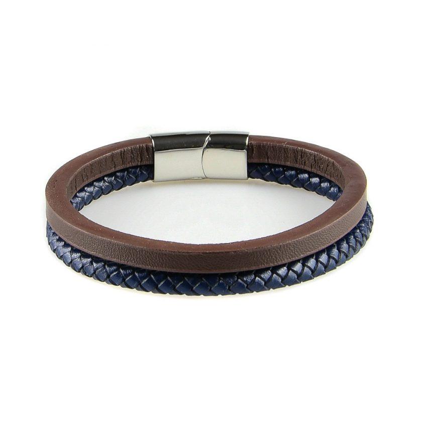 Bracelet en cuir pour homme avec une lanière en cuir tressé bleu et une en cuir lisse marron.