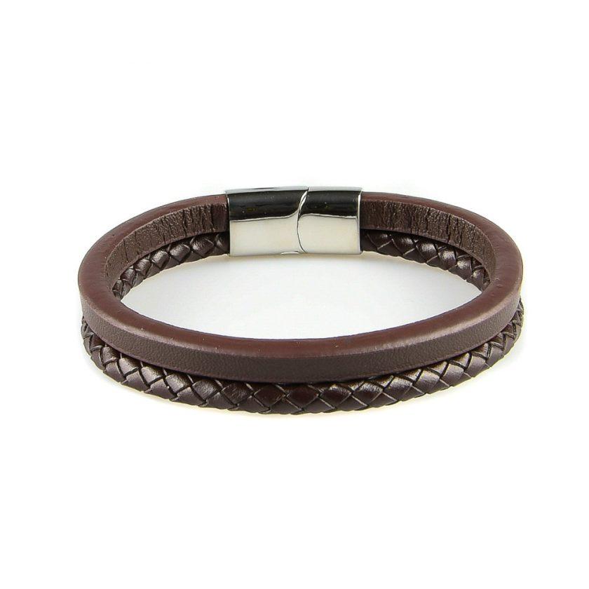 Bracelet en cuir pour homme composé de deux lanières marron en cuir tressé et lisse.